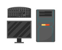 Desktop computer technology isolated icon telecommunication equipment metal pc monitor frame modern office network Royalty Free Stock Photos