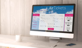 Desktop computer with tickets flight web Stock Image