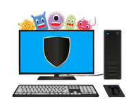 Desktop computer with virus protection Royalty Free Stock Photos