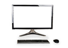 Desktop computer with white blank screen and keyboard and mouse Stock Image