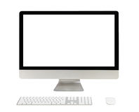 Desktop computer with white screen. Isolated on white Royalty Free Stock Images