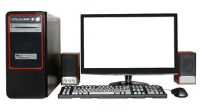 Desktop computer with widescreen display Royalty Free Stock Photography
