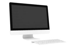 Desktop computer with wireless keyboard Royalty Free Stock Photo