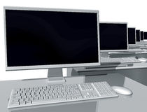 Desktop computers in an office environment. Illustration of desktop computers lined up in an office environment
