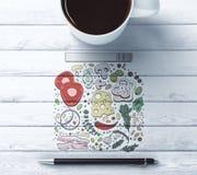 Desktop con il disegno dell'alimento Immagini Stock Libere da Diritti