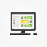 Desktop con l'illustrazione di vettore di applicazione del messaggero illustrazione di stock