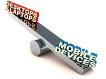 Desktop contro i dispositivi mobili Fotografie Stock