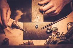 Desktop for craft jewellery making. Stock Photos