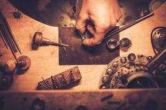 Desktop for craft jewellery making. Royalty Free Stock Photo