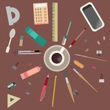 Desktop, creative mess. View from above. Flat set. Royalty Free Stock Photo