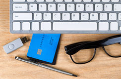 Desktop with credit cards unsecured Stock Photos