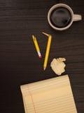 Desktop, Cup, Broken Pencil, Yellow Pad, Copy Space Royalty Free Stock Photos