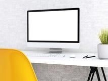 desktop 3d con il computer Derisione su Fotografia Stock