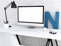 desktop 3d con il computer Derisione su Fotografia Stock Libera da Diritti