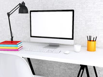 Desktop 3d mit Computer Spott oben Lizenzfreie Stockfotografie