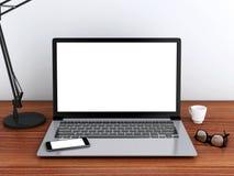 Desktop 3d mit Laptop Spott oben Lizenzfreies Stockfoto