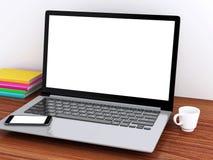 Desktop 3d mit Laptop Spott oben Lizenzfreie Stockfotografie