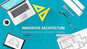 Desktop dell'architetto con gli strumenti Fotografie Stock Libere da Diritti