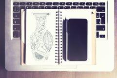 Desktop dell'ufficio con gli oggetti Fotografia Stock