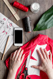 Desktop designer clothes with tools top view mock up Royalty Free Stock Image