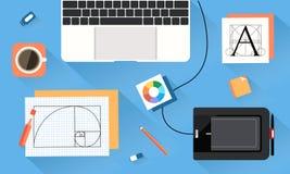 Desktop of designer vector art. Desktop of graphic designer, working at office, using wacom Royalty Free Stock Photo