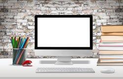 Desktop. Computer artist background blank brick business Royalty Free Stock Image
