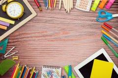 Desktop. Kids pencils blackboard desk school stationery Royalty Free Stock Photography
