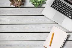 Desktop. Lay flat beauty blog office plant Stock Photography