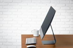 Desktop. Screen desk monitor blank laptop white Stock Photography