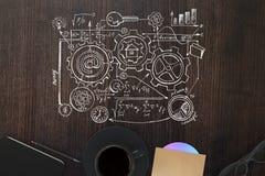 Desktop di legno con lo schizzo di affari Fotografie Stock