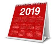 Desktop 2019 do calendário na cor vermelha fotografia de stock royalty free