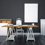 Desktop do modelo com os cartazes na parede 3d Fotografia de Stock