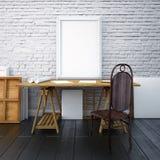 Desktop do modelo com os cartazes na parede 3d Foto de Stock