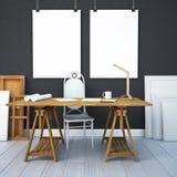 Desktop do modelo com os cartazes na parede 3d Fotografia de Stock Royalty Free