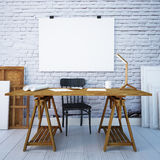 Desktop do modelo com os cartazes na parede 3d Foto de Stock Royalty Free