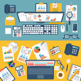 Desktop with documents, laptop and office equipmen Royalty Free Stock Images