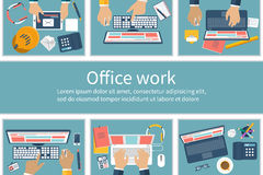 Office cubicles with people. Working on computers. Office workers. Office Work. Call center. Flat design style, vector illustration.  Work space with employees Royalty Free Stock Images