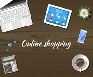 Desktop em linha do conceito da compra com computador ilustração do vetor