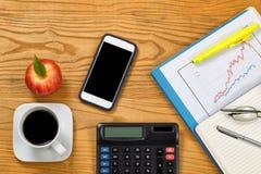 Desktop with financial items prepared to analyze market financia Royalty Free Stock Photography
