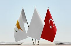 Flags of Cyprus and Turkey. Desktop flags of Cyprus and Turkey and white flag in the middle stock image