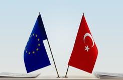 Flag of European Union and Turkey. Desktop flags of European Union and Turkey at white background royalty free stock image