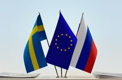 Flags of Sweden European Union and Russia. Desktop flags of Sweden European Union and Russia stock photos