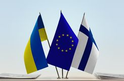 Flags of Ukraine European Union and Finland. Desktop flags of Ukraine European Union and Finland Royalty Free Stock Photography