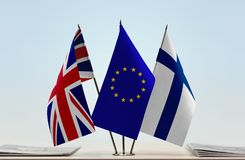 Flags of United Kingdom European Union and Finland. Desktop flags of United Kingdom of Great Britain European Union and Finland Royalty Free Stock Image