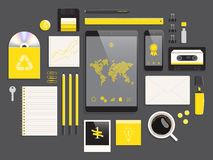 Desktop flat objects, vector illustration Stock Photo