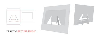 Desktop Frame Illustration, Picture Paper Frame, Vector with die cut layers stock illustration