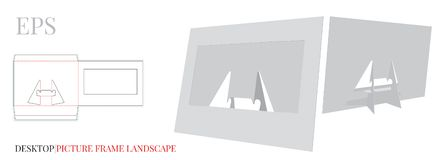 Desktop Frame Template, Picture Frame, Vector with die cut / laser cut layers.  White, clear, blank, isolated Picture Frame mock u vector illustration