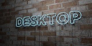 DESKTOP - Glühende Leuchtreklame auf Steinmetzarbeitwand - 3D übertrug freie Illustration der Abgabe auf Lager Lizenzfreie Stockfotos