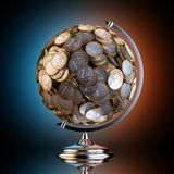 Desktop Globe Created out of Money (Black Studio 1 Euro) Royalty Free Stock Photo
