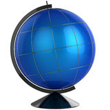 Desktop Globe template (Hi-Res). Blue shiny sphere globe with meridians. No maps. This is a detailed 3D render. Isolated on white Royalty Free Stock Photography
